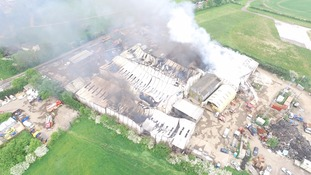The warehouses have been destroyed by the flames