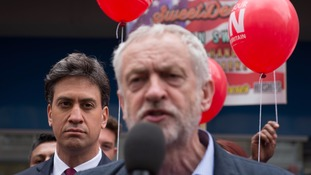 Ed Miliband stood behind Jeremy Corbyn as the Labour leader addressed a campaign rally in Doncaster.