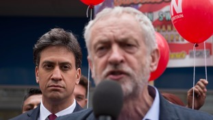 Jeremy Corbyn and Ed Miliband make rare shared appearance at rally