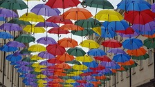 Brollies take over a Bath shopping centre