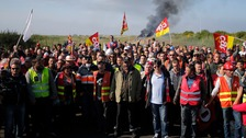 Striking French workers had formed burning barricades at fuel depots across northern France in protest at proposed labour law reforms.