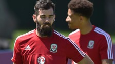Wales' Joe Ledley during a training session at the Vale do Lobo Resort, Algarve.