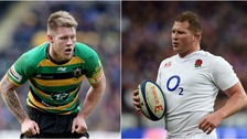 Dylan Hartley (right) says he's proud of Teimana Harrison's achievements (left).