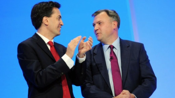 Ed Miliband and Ed Balls at Labour Party Conference