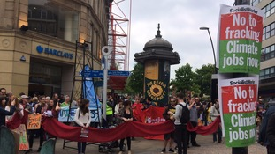 Protestors gather in Sheffield to demonstrate against fracking