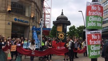 Protestors in Sheffield demonstrate against fracking