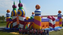 World's biggest bouncy castle at music festival