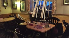 Lucky escape for diners after car hits pub