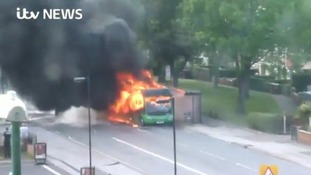 Watch the shocking moment smoke and flames engulf a bus in Nottingham
