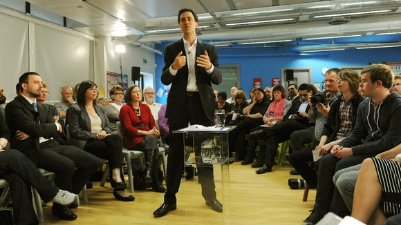 Miliband pictured during a recent question and answer session with members of the public in Manchester.