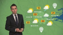 Weather: Dry with warm and sunny spells for most with highs of 22C