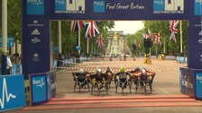 Wheelchair racers in Westminster mile record attempt.