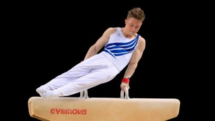 Nile Wilson competing on the pommel horse