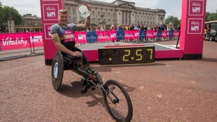 David Weir was quickly congratulated by four minute-mile runner Roger Bannister