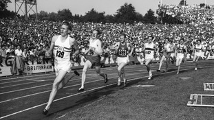 "Roger Bannister, wearing ""139"", wins the 1954 1500-meters race at the European Athletics Championships"