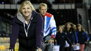 Rebecca Adlington and Ross Davenport train for the charity bike ride across Africa