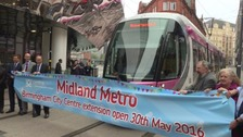 The first tram arrives at Birmingham News Street