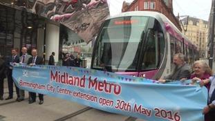 Hold on tight! First tram pulls into Birmingham New Street