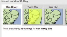 The Met Office has issued a yellow warning for rain