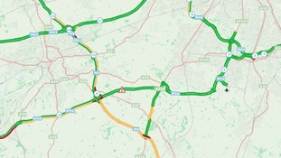 M56 Westbound between J7 A556 (Bowdon) and J9 M6 (Lymm Interchange)