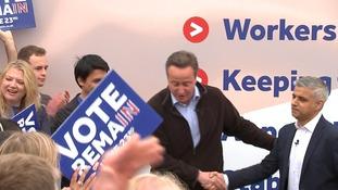 London mayor Sadiq Khan and Prime Minister David Cameron share platform for EU Remain campaign