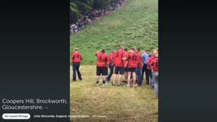LIVE: The cheese rolling action from Coopers Hill