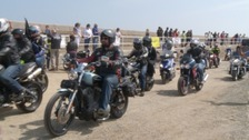 Motorcyclists on St Catherine's Breakwater for the 'Big Ride Out'