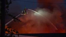 Crews damping down after Bramley blaze