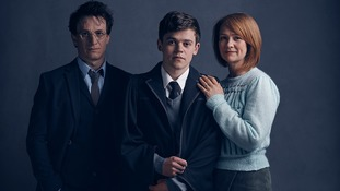 Jamie Parker, Sam Clemmett, and Poppy Miller, as Harry, Albus, and Ginny Potter