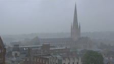 Up to 40 mm of rain has fallen in six hours in some parts of the Anglia region.