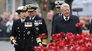 The Princess Royal and German President Joachim Gauck are at the service.