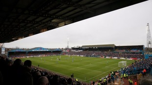 A general view of the match action during the Emirates FA Cup, fourth round match at Brunton Park, Carlisle.