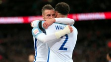 England's Jamie Vardy (left) celebrates scoring his side's first goal of the game with teammate Kyle Walker (right) during the International Friendly match at Wembley Stadium, London.