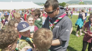 Celebrity adventurer Bear Grylls attends north Wales Scout event