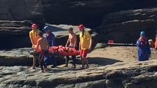 Teenage girl rescued after falling into gully on Cornish beach