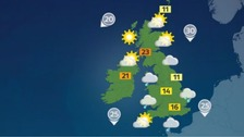 A cloudy day for most with outbreaks of rain or drizzle