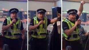 Singing policeman does karaoke after arresting man at Glasgow pub
