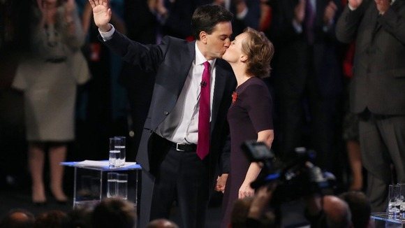 Family politics; Labour Party leader Ed Miliband kisses his wife Justine after delivering his keynote speech.