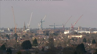 Cranes dominating the Cambridge skyline