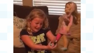 Joy for girl with prosthetic leg over doll with 'leg like me'