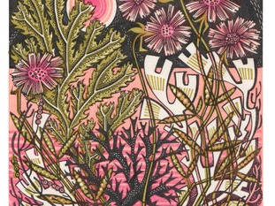 Angie Lewin, Sea Pinks Wood engraving