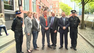 DCS Vanessa Jardine, Emma Baldry from Broken Rainbow, Lord Mayor Councillor Carl Austin-Behan, Deputy Police and Crime Commissioner Jim Battle and Paul Martin OBE from LGBT Foundation