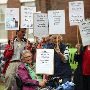A small group of protesters gathered in King's Square in Bridgwater