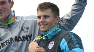 Serghei Tarnovschi won bronze for Moldova in the men's canoe single 1000m final.
