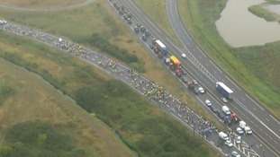 The 'go slow' protest caused long delays near Calais.
