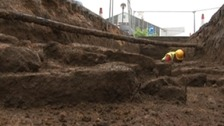 Archeological dig at Northampton train station
