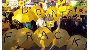 Protestors hold an anti-fracking rally