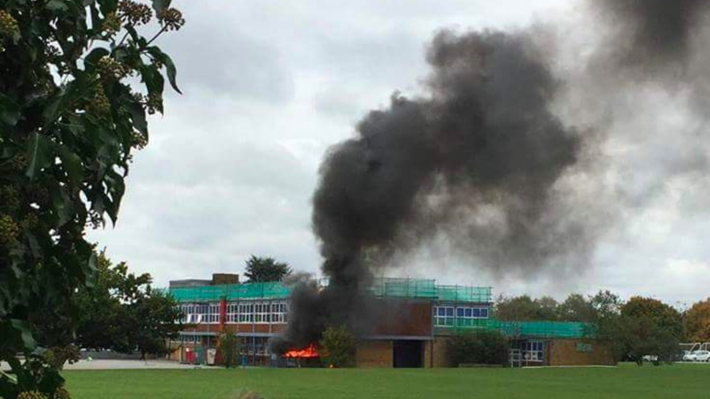 School Building Damaged After Fire Breaks Out In Skip