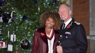 Met Commissioner and Fleur East light up Met Christmas appeal.