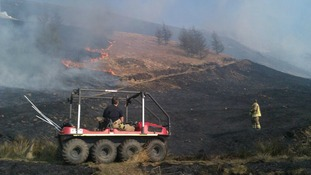 Firefighters fighting grass fire